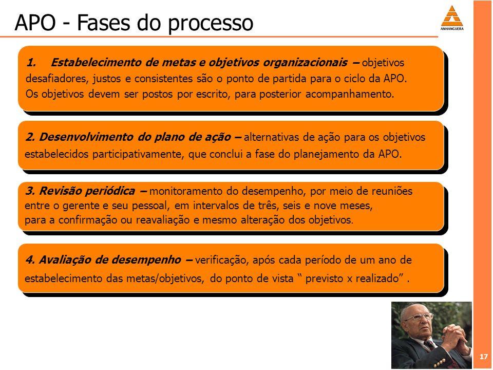 APO - Fases do processo Estabelecimento de metas e objetivos organizacionais – objetivos.