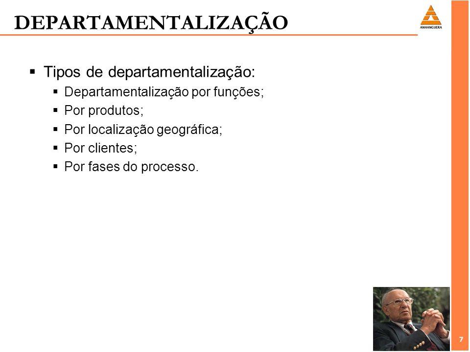 DEPARTAMENTALIZAÇÃO Tipos de departamentalização: