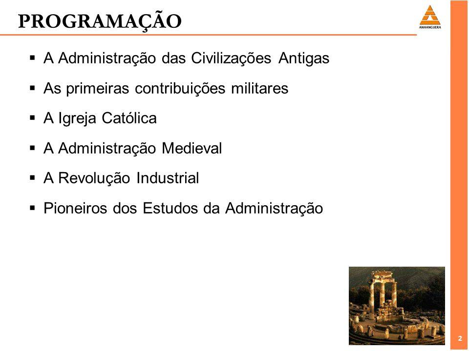 PROGRAMAÇÃO A Administração das Civilizações Antigas