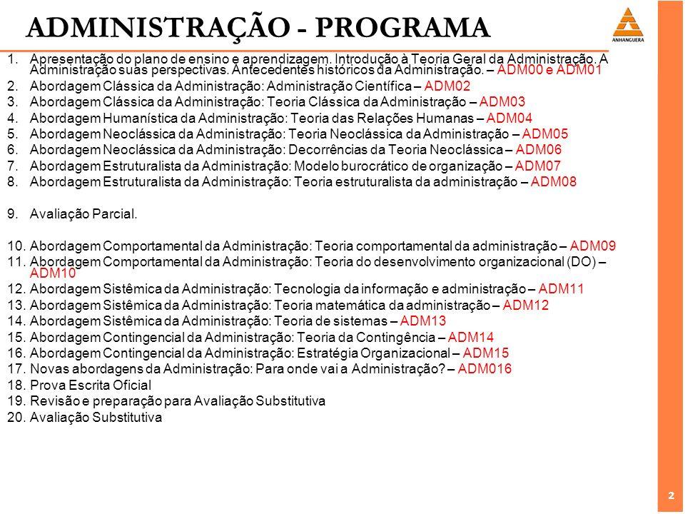 ADMINISTRAÇÃO - PROGRAMA