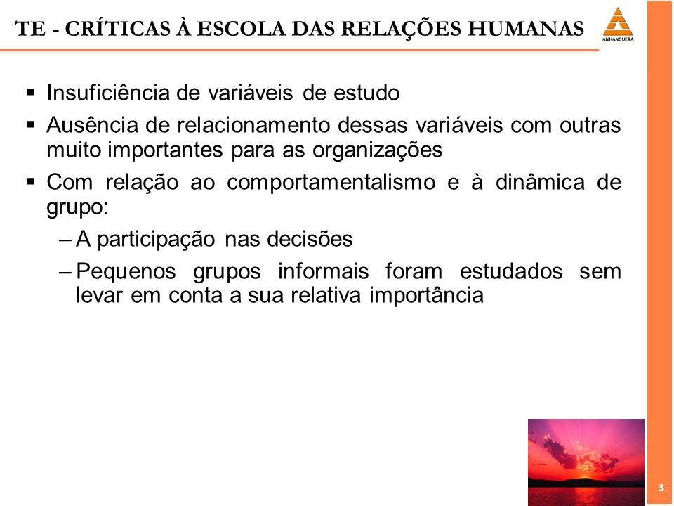 TE - CRÍTICAS À ESCOLA DAS RELAÇÕES HUMANAS