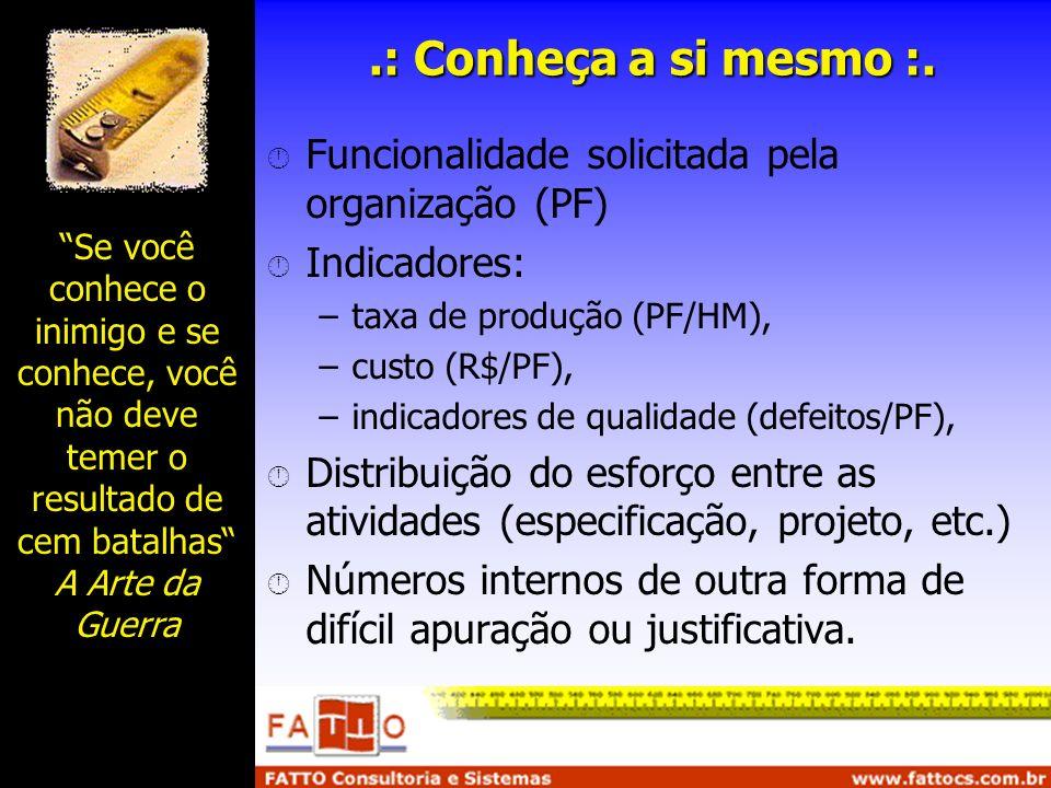 .: Conheça a si mesmo :. Funcionalidade solicitada pela organização (PF) Indicadores: taxa de produção (PF/HM),