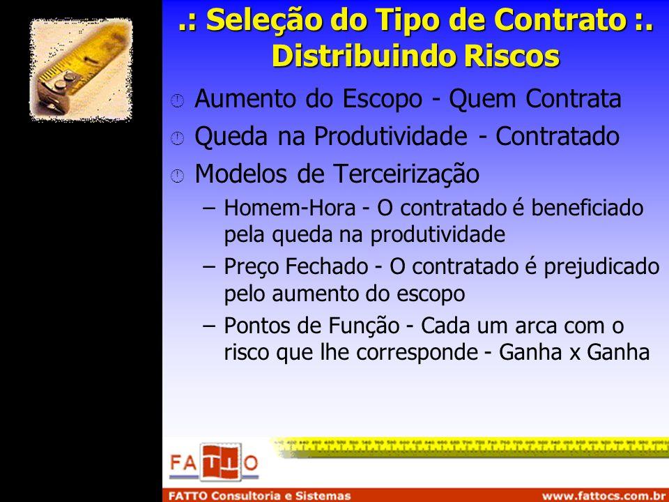 .: Seleção do Tipo de Contrato :. Distribuindo Riscos