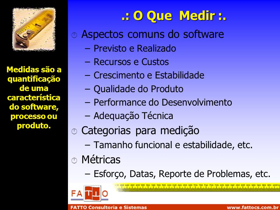 .: O Que Medir :. Aspectos comuns do software Categorias para medição