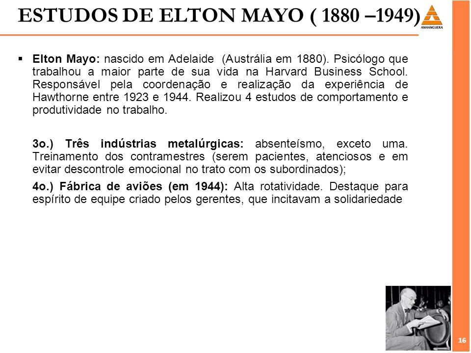 elton mayo on modern business Elton mayo was a philosopher, author elton mayo's theory of motivations & contributions to management theory elton mayo's theory of motivations.