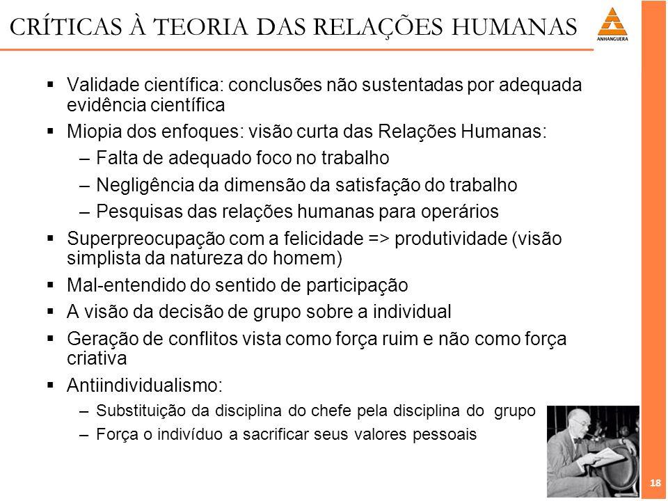 CRÍTICAS À TEORIA DAS RELAÇÕES HUMANAS