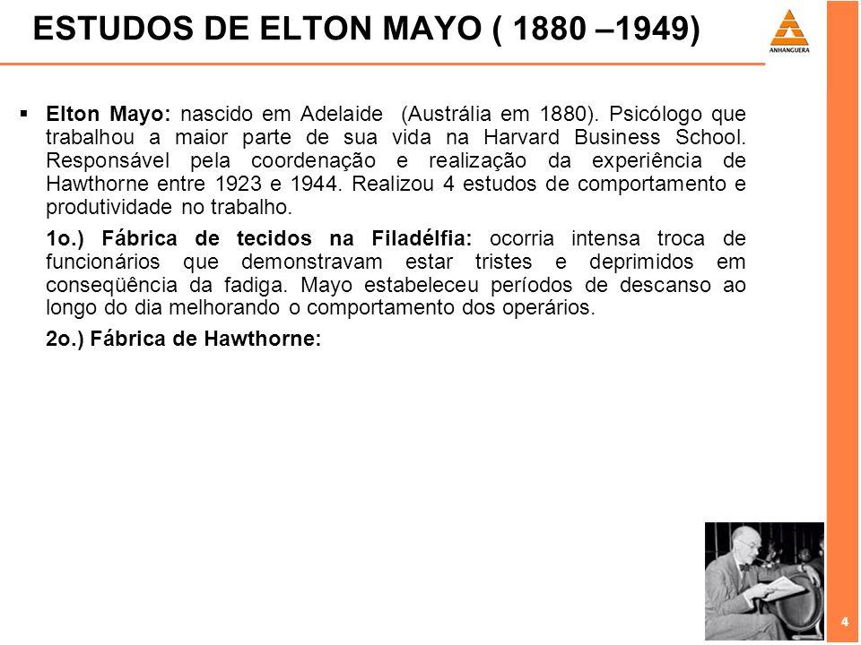 ESTUDOS DE ELTON MAYO ( 1880 –1949)