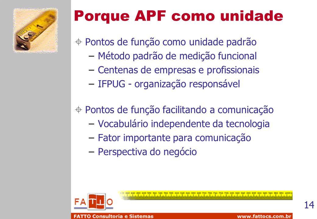 Porque APF como unidade