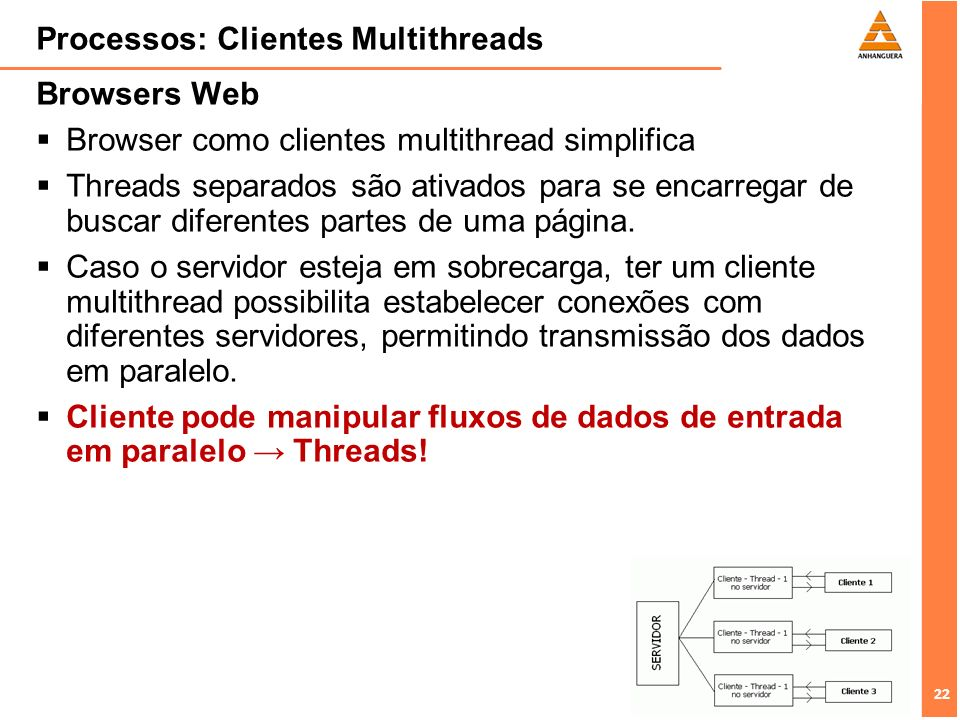 Processos: Clientes Multithreads