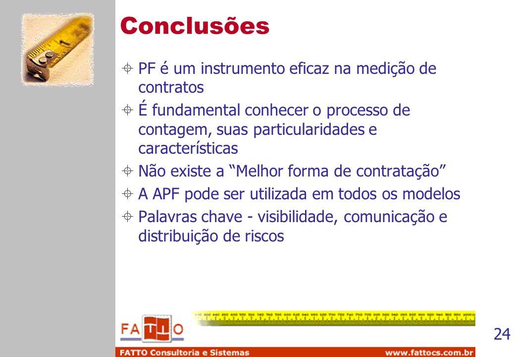 Conclusões PF é um instrumento eficaz na medição de contratos