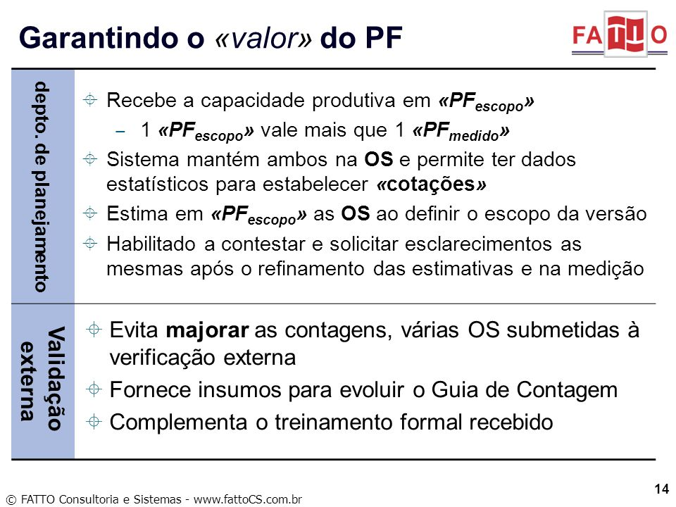 Garantindo o «valor» do PF