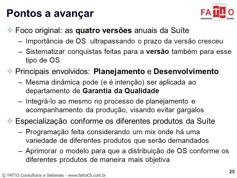Pontos a avançar Foco original: as quatro versões anuais da Suíte