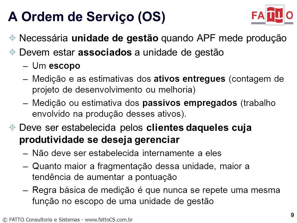 A Ordem de Serviço (OS) Necessária unidade de gestão quando APF mede produção. Devem estar associados a unidade de gestão.