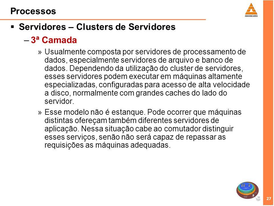 Servidores – Clusters de Servidores 3ª Camada
