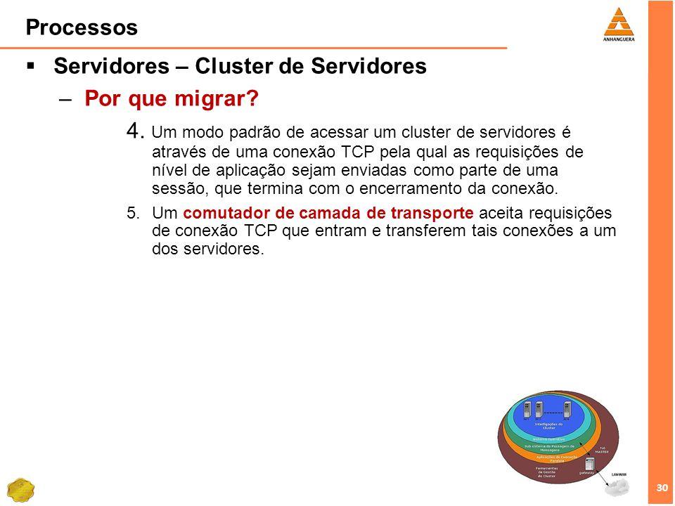 Servidores – Cluster de Servidores Por que migrar