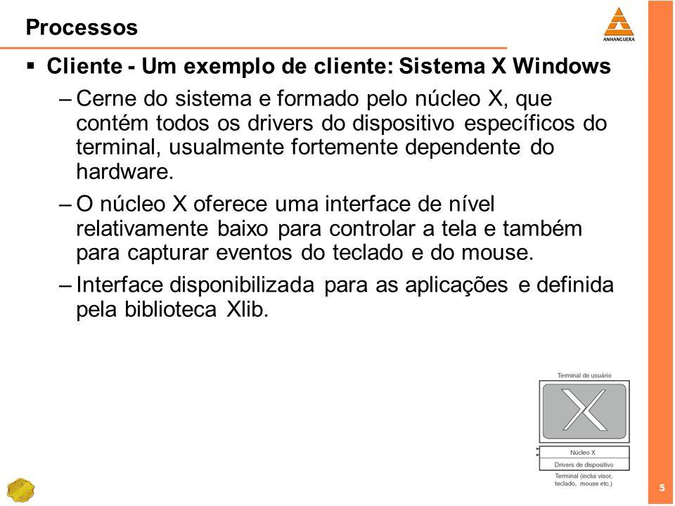 Processos Cliente - Um exemplo de cliente: Sistema X Windows.