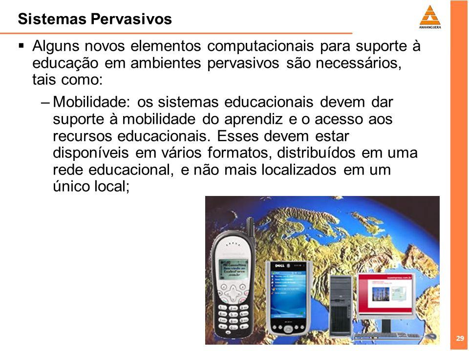 Sistemas Pervasivos Alguns novos elementos computacionais para suporte à educação em ambientes pervasivos são necessários, tais como:
