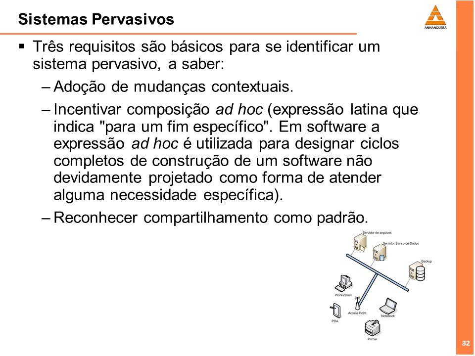 Sistemas Pervasivos Três requisitos são básicos para se identificar um sistema pervasivo, a saber: Adoção de mudanças contextuais.