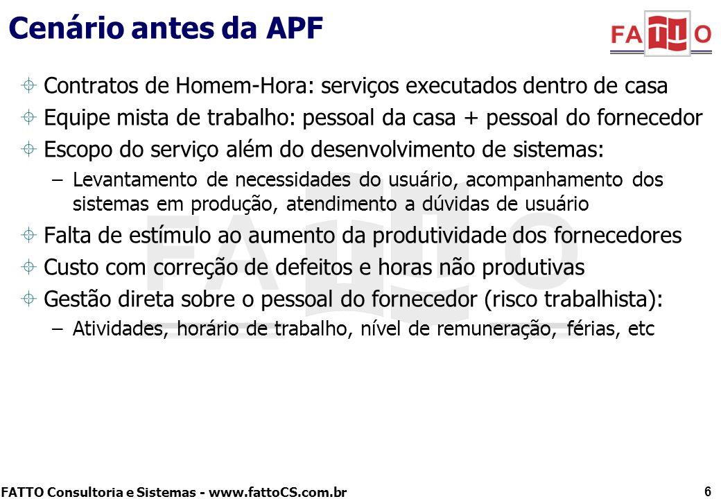 Cenário antes da APF Contratos de Homem-Hora: serviços executados dentro de casa. Equipe mista de trabalho: pessoal da casa + pessoal do fornecedor.