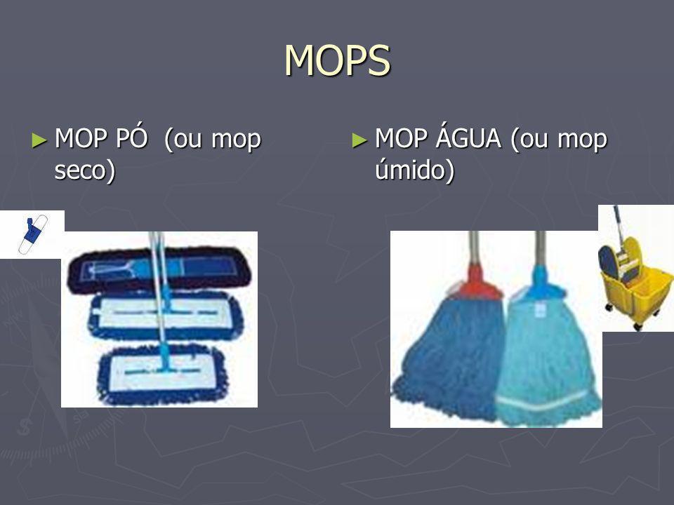 MOPS MOP PÓ (ou mop seco) MOP ÁGUA (ou mop úmido) ANOTAÇÕES