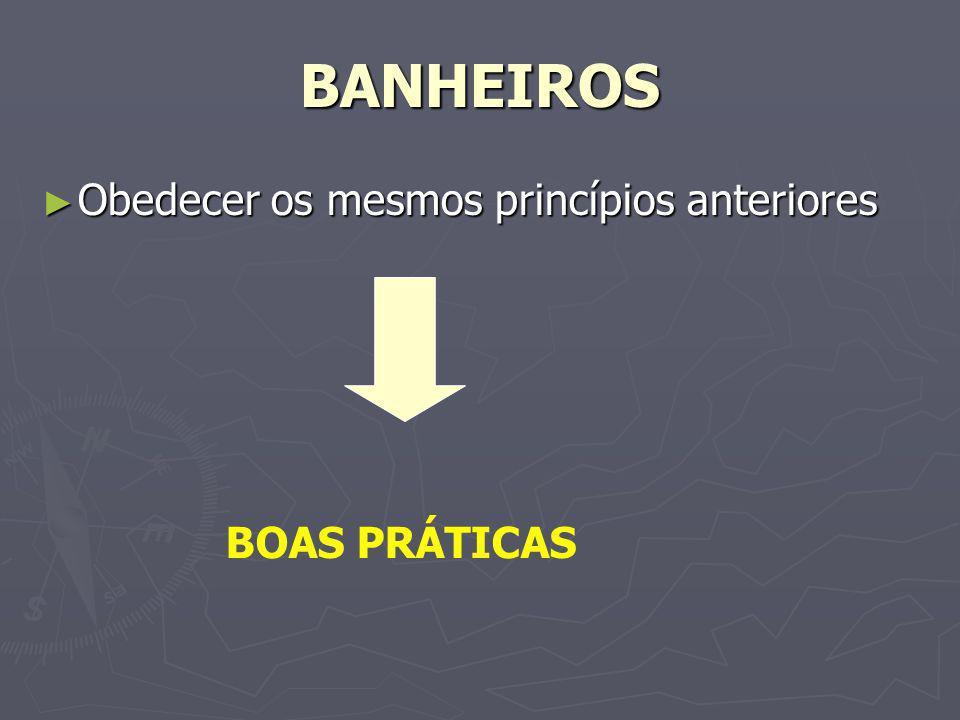 BANHEIROS Obedecer os mesmos princípios anteriores BOAS PRÁTICAS