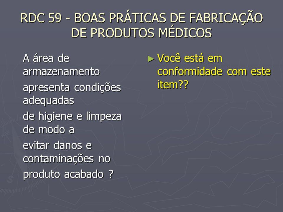 RDC 59 - BOAS PRÁTICAS DE FABRICAÇÃO DE PRODUTOS MÉDICOS