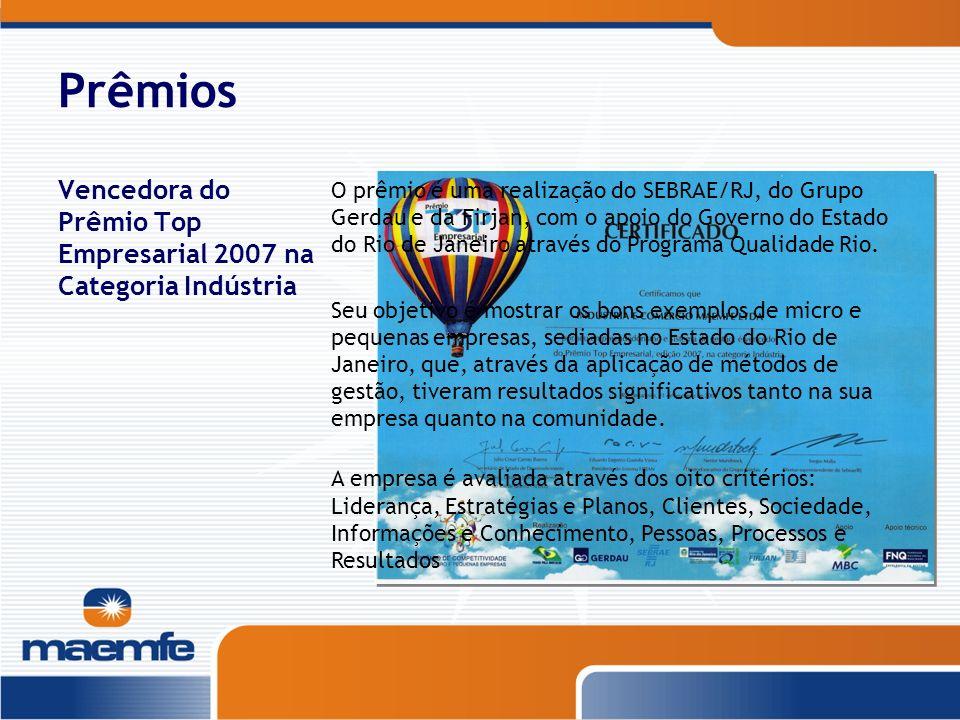 PrêmiosVencedora do Prêmio Top Empresarial 2007 na Categoria Indústria.