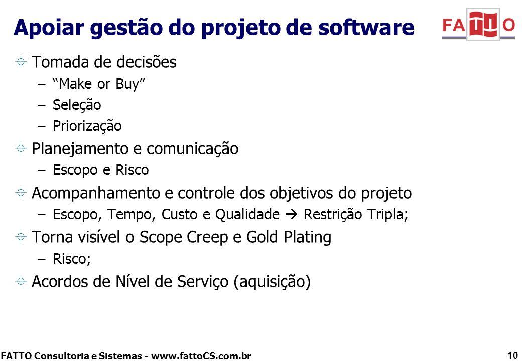 Apoiar gestão do projeto de software