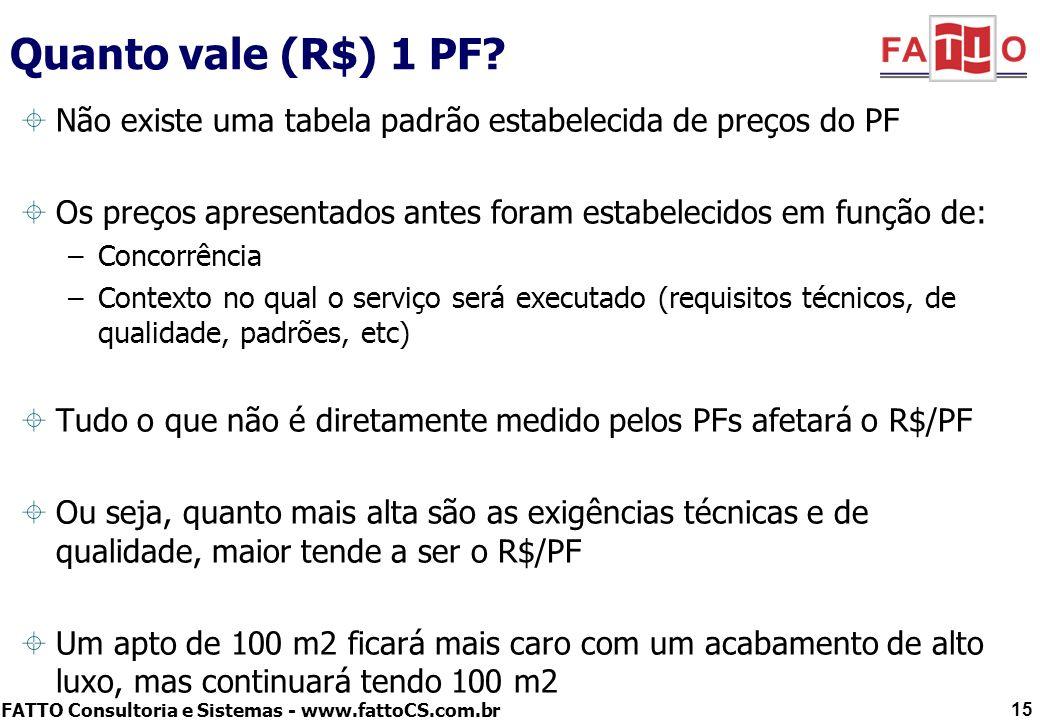 Quanto vale (R$) 1 PF Não existe uma tabela padrão estabelecida de preços do PF. Os preços apresentados antes foram estabelecidos em função de: