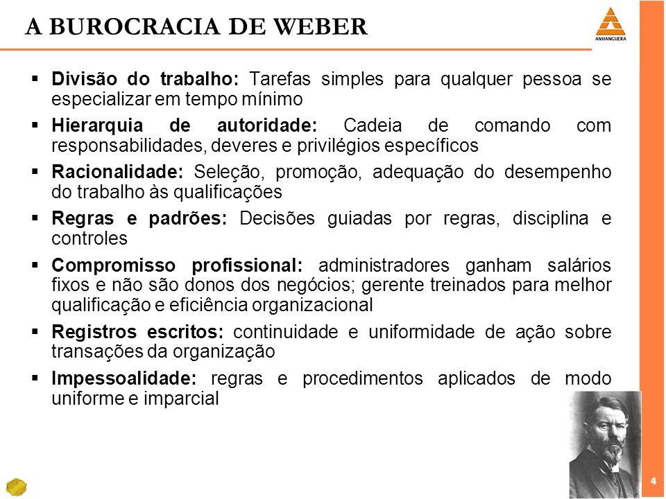 A BUROCRACIA DE WEBER Divisão do trabalho: Tarefas simples para qualquer pessoa se especializar em tempo mínimo.