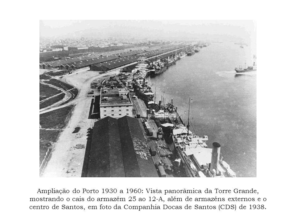 Ampliação do Porto 1930 a 1960: Vista panorâmica da Torre Grande, mostrando o cais do armazém 25 ao 12-A, além de armazéns externos e o centro de Santos, em foto da Companhia Docas de Santos (CDS) de 1938.