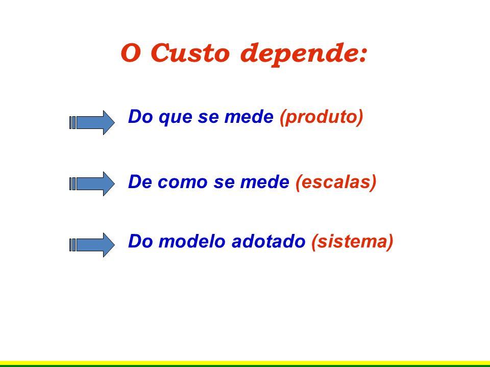 O Custo depende: Do que se mede (produto) De como se mede (escalas)