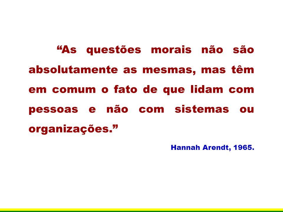As questões morais não são absolutamente as mesmas, mas têm em comum o fato de que lidam com pessoas e não com sistemas ou organizações.