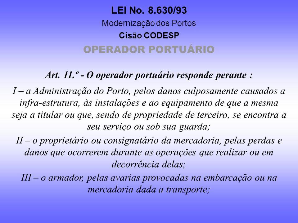 Art. 11.º - O operador portuário responde perante :