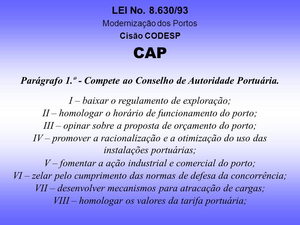Parágrafo 1.º - Compete ao Conselho de Autoridade Portuária.