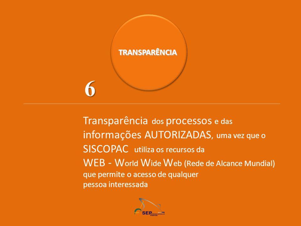 TRANSPARÊNCIA 6. Transparência dos processos e das informações AUTORIZADAS, uma vez que o SISCOPAC utiliza os recursos da.