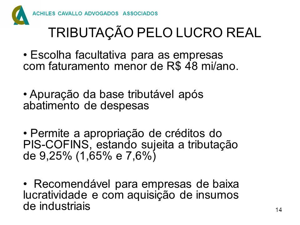 TRIBUTAÇÃO PELO LUCRO REAL