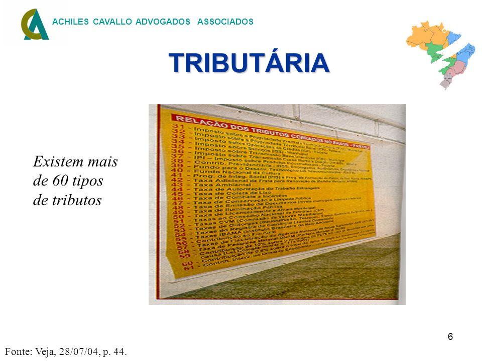 TRIBUTÁRIA Existem mais de 60 tipos de tributos