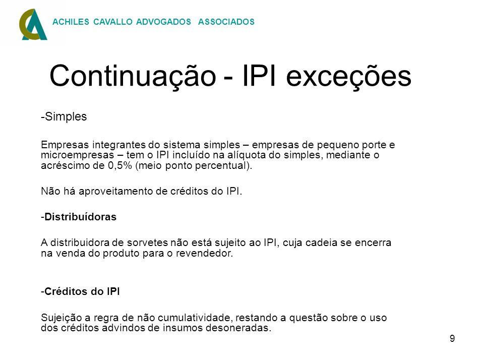 Continuação - IPI exceções