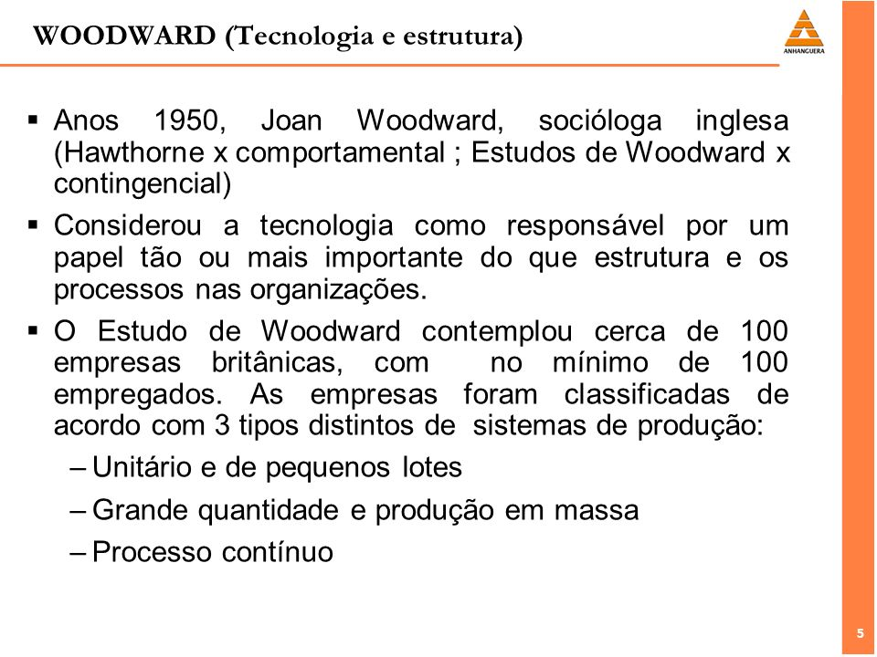 WOODWARD (Tecnologia e estrutura)