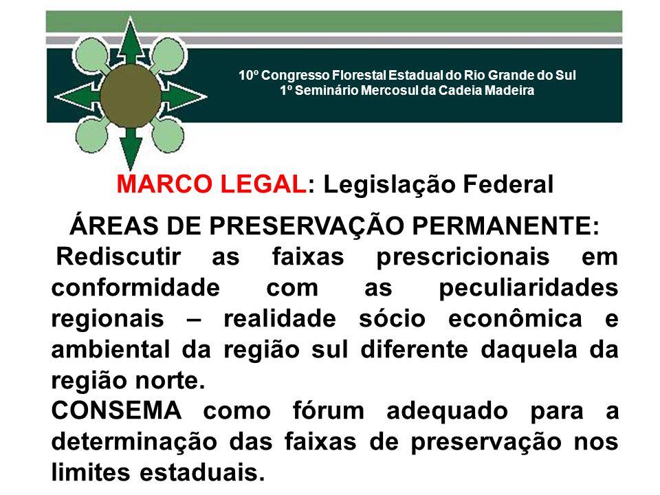 MARCO LEGAL: Legislação Federal ÁREAS DE PRESERVAÇÃO PERMANENTE: