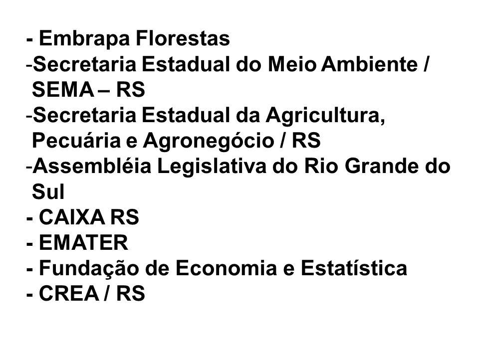 - Embrapa Florestas Secretaria Estadual do Meio Ambiente / SEMA – RS. Secretaria Estadual da Agricultura,