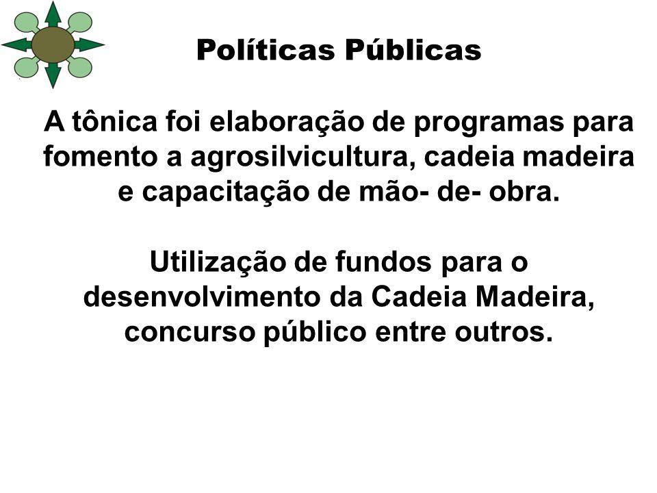 Políticas Públicas A tônica foi elaboração de programas para fomento a agrosilvicultura, cadeia madeira e capacitação de mão- de- obra.