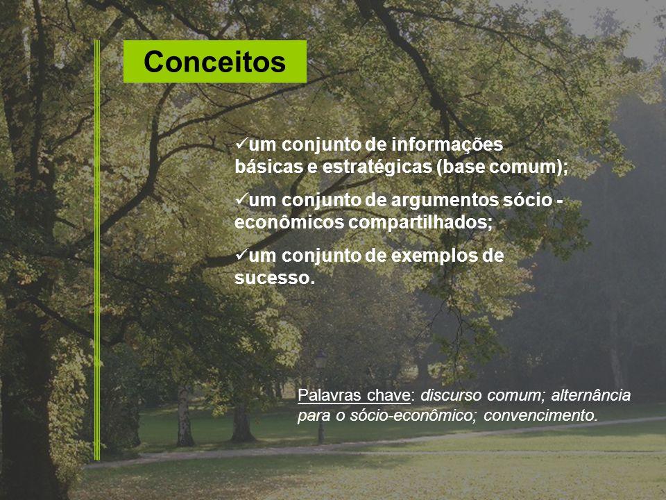 Conceitos um conjunto de informações básicas e estratégicas (base comum); um conjunto de argumentos sócio - econômicos compartilhados;
