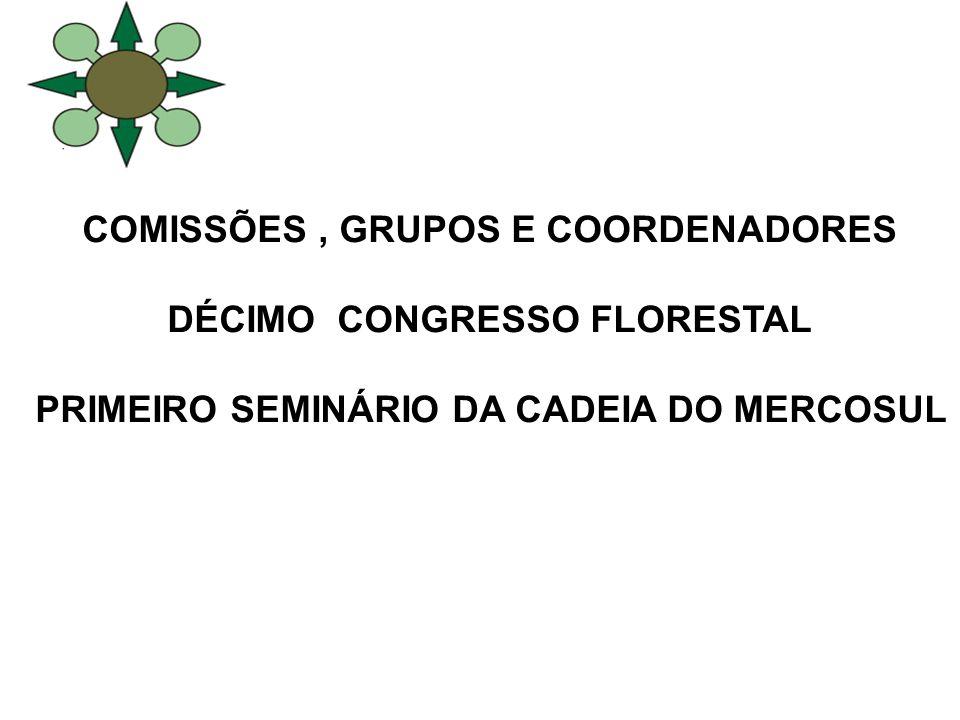 COMISSÕES , GRUPOS E COORDENADORES DÉCIMO CONGRESSO FLORESTAL
