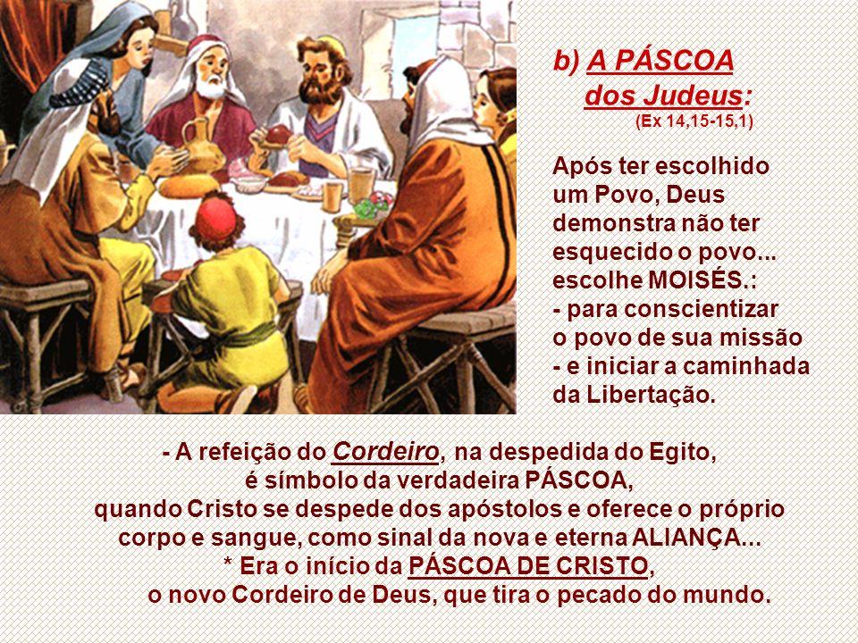 b) A PÁSCOA dos Judeus: (Ex 14,15-15,1) Após ter escolhido um Povo, Deus demonstra não ter esquecido o povo...