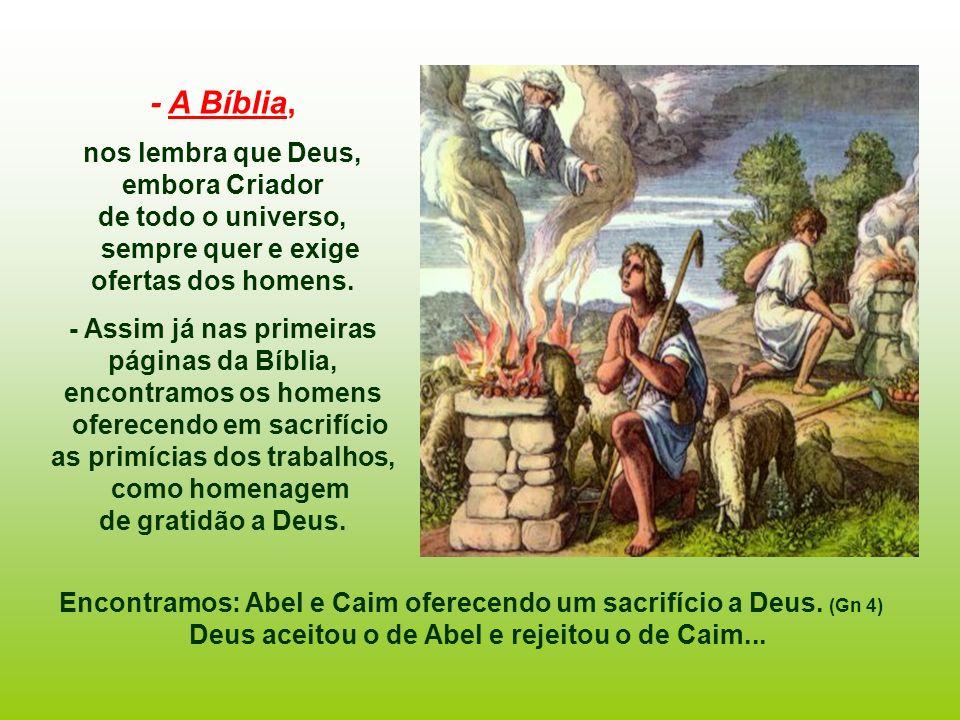 - A Bíblia, nos lembra que Deus, embora Criador de todo o universo,