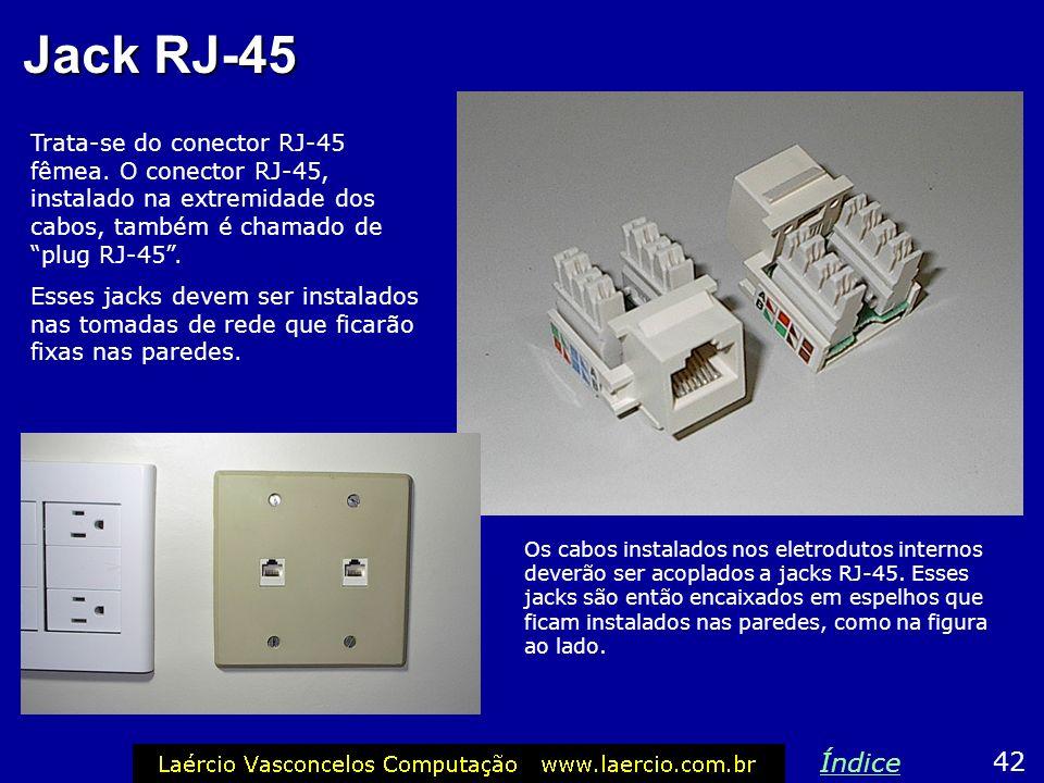 Jack RJ-45 Trata-se do conector RJ-45 fêmea. O conector RJ-45, instalado na extremidade dos cabos, também é chamado de plug RJ-45 .