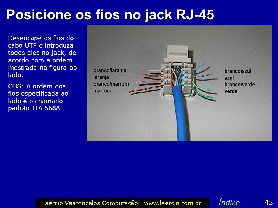 Posicione os fios no jack RJ-45