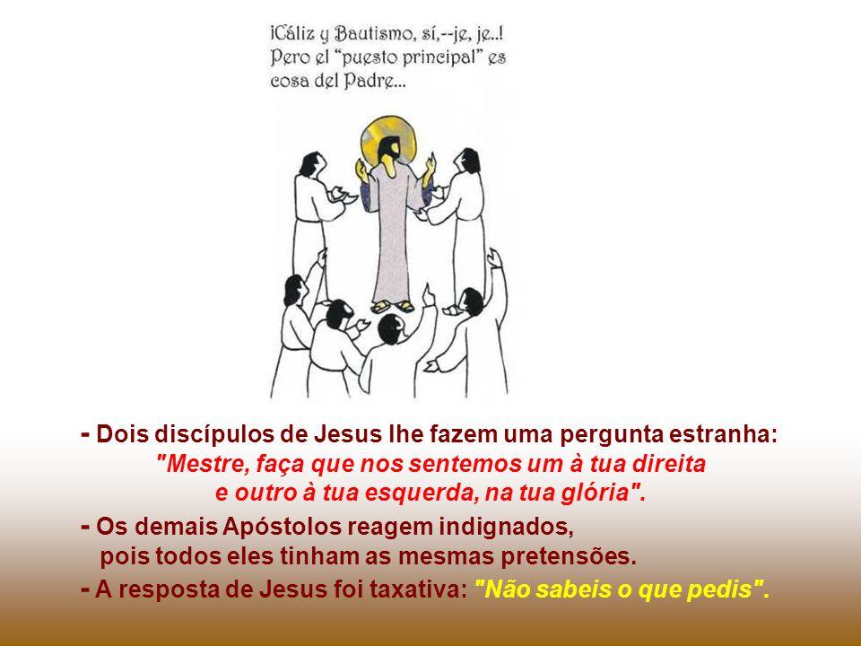 - Dois discípulos de Jesus lhe fazem uma pergunta estranha: